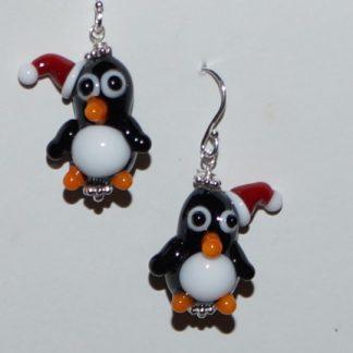 Øreringe - pingviner med nissehue
