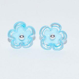 Øreringe - blomst i lyseblå/blå