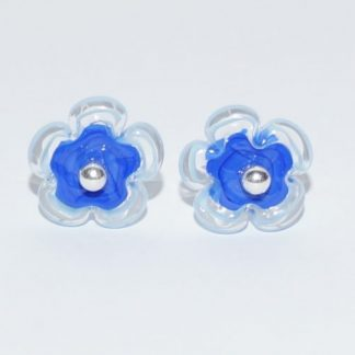 Øreringe - blomst i mørkeblå/lyseblå