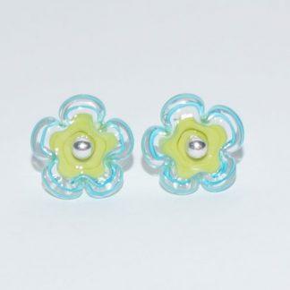 Øreringe - blomst i grøn/blå
