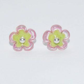 Øreringe - blomst i grøn/lyserød