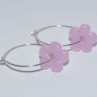 Øreringe - blomst i lyserød